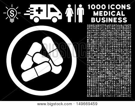 White Pills glyph rounded icon. Image style is a flat icon symbol inside a circle black background. Bonus clipart is 1000 healthcare business elements.