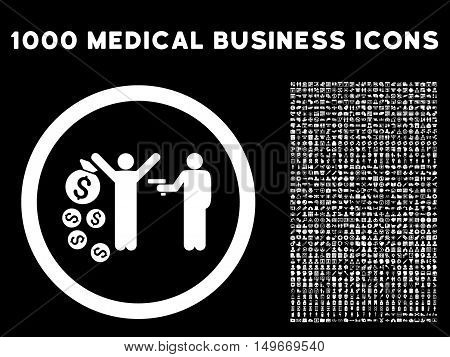 White Robbery glyph rounded icon. Image style is a flat icon symbol inside a circle black background. Bonus set contains 1000 medicine business pictographs.