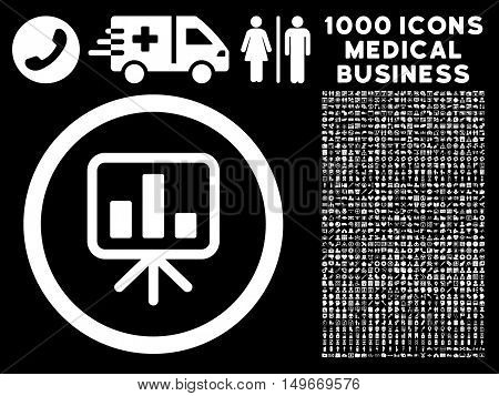 White Slideshow Screen glyph rounded icon. Image style is a flat icon symbol inside a circle black background. Bonus clipart is 1000 medicine business pictograms.
