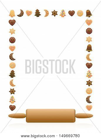 Christmas cookies frame with wooden rolling pin.