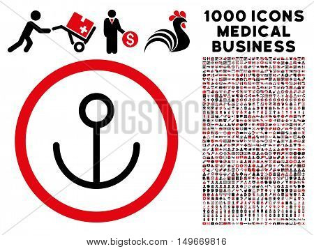 Intensive Red And Black Anchor glyph bicolor rounded icon. Image style is a flat icon symbol inside a circle white background. Bonus set has 1000 medicine business elements.