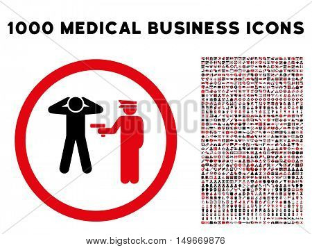 Intensive Red And Black Arrest glyph bicolor rounded icon. Image style is a flat icon symbol inside a circle white background. Bonus clipart has 1000 healthcare business design elements.