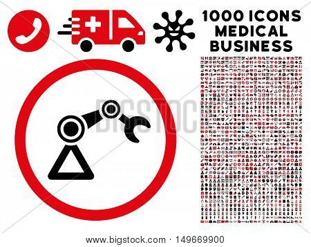 Intensive Red And Black Artificial Manipulator glyph bicolor rounded icon. Image style is a flat icon symbol inside a circle white background. Bonus clip art contains 1000 medicine business symbols.
