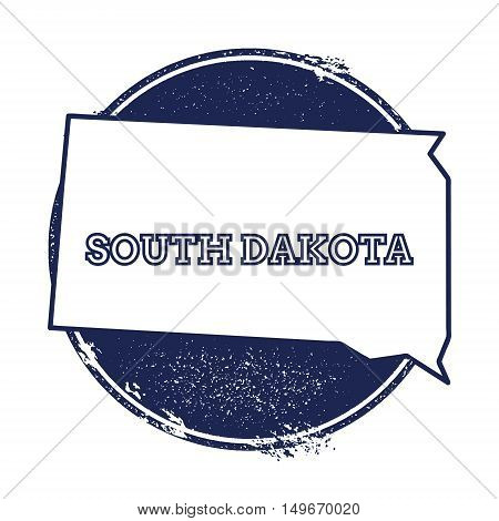 South Dakota Vector Map. Grunge Rubber Stamp With The Name And Map Of South Dakota, Vector Illustrat