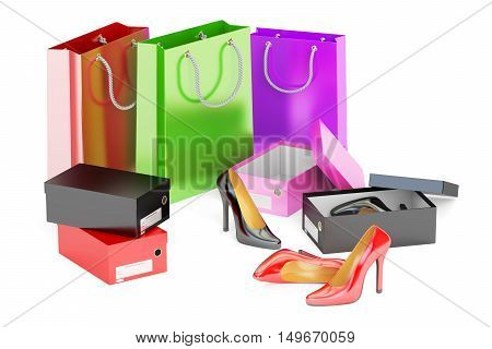 Shopping concept. Shoes shopping bags and shoeboxes 3D rendering isolated on white background