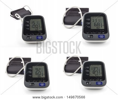 Collage of Digital Blood Pressure Monitor on bright background. Hypotension and hypertension.