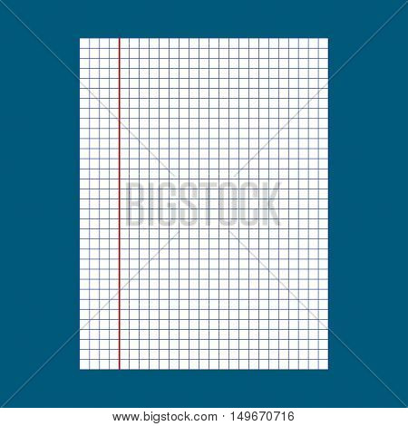 School notebook paper. Notebook squared paper. Vector illustration