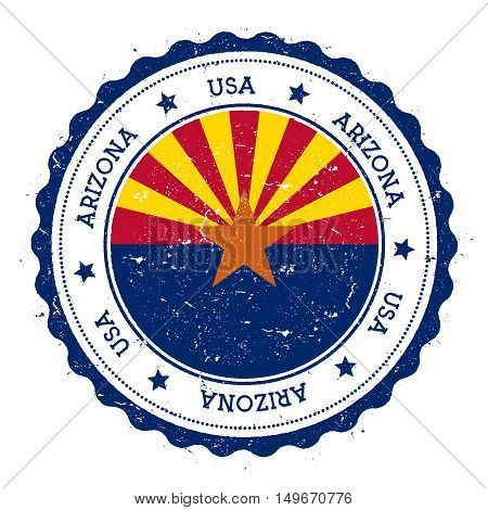 Arizona Flag Badge. Grunge Rubber Stamp With Arizona Flag. Vintage Travel Stamp With Circular Text,