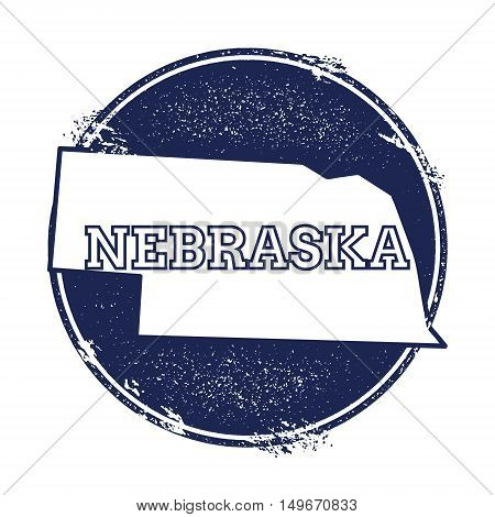 Nebraska Vector Map. Grunge Rubber Stamp With The Name And Map Of Nebraska, Vector Illustration. Can