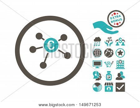 Euro Payments pictograph with bonus design elements. Vector illustration style is flat iconic bicolor symbols grey and cyan colors white background. poster