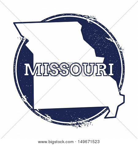 Missouri Vector Map. Grunge Rubber Stamp With The Name And Map Of Missouri, Vector Illustration. Can