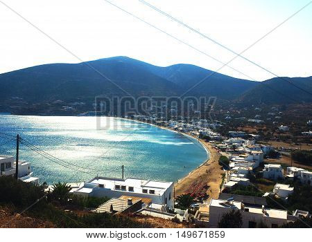 Platys Gialos beach and hotels Sifnos Cyclades Greek Island Greece