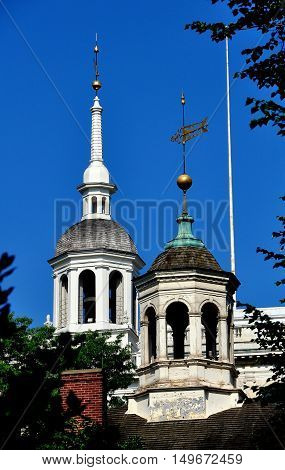 Philadelphia Pennsylvania - June 25 2013: The elegant cupolas of the of 1732-1753 Independence Hall (background) and Old City Hall (foreground)