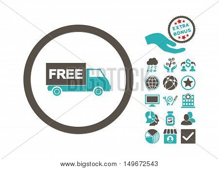Free Shipment icon with bonus symbols. Vector illustration style is flat iconic bicolor symbols, grey and cyan colors, white background.