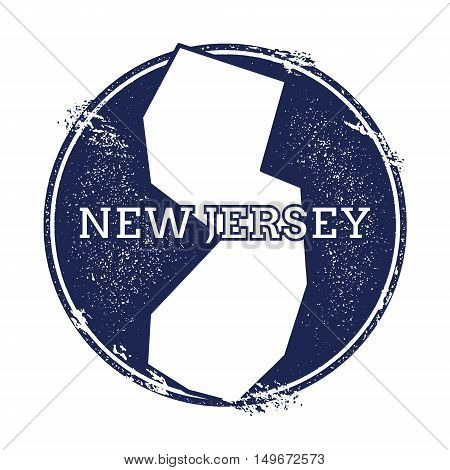 New Jersey Vector Map. Grunge Rubber Stamp With The Name And Map Of New Jersey, Vector Illustration.