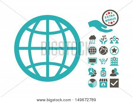 Globe pictograph with bonus pictures. Vector illustration style is flat iconic bicolor symbols, grey and cyan colors, white background.