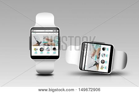 modern technology, object, responsive design and shopping online concept - smart watches with internet shop web page screen over gray background