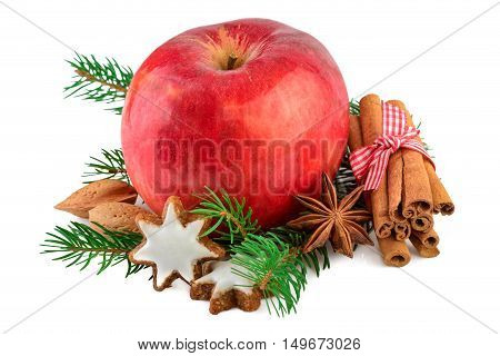 Red apple Christmas decorating farmhouse style rustic still life. Christmas apple with spices on white background.