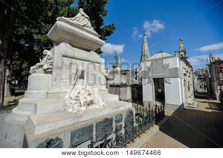 Buenos Aires Argentina - Sept 23 2016: View of the tomb of President Carlos Pellegrini at the La Recoleta Cemetery in Capital Federal.