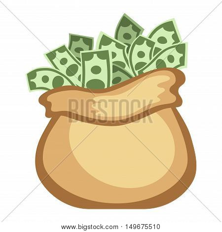 Money bag sign flat icon money finance sign. Banking money bag sign investment financial wealth money treasure. Money bag sign icon currency business symbol flat design vector.
