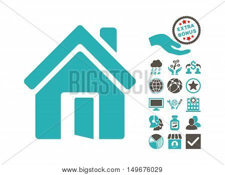 Open House Door icon with bonus icon set. Vector illustration style is flat iconic bicolor symbols, grey and cyan colors, white background.