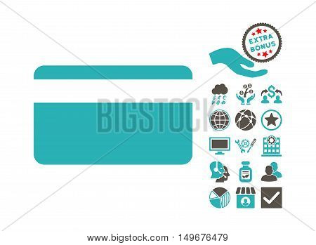 Plastic Card pictograph with bonus pictograph collection. Vector illustration style is flat iconic bicolor symbols, grey and cyan colors, white background.