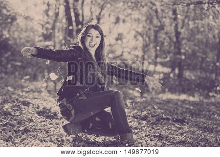 Cheerful Woman In Park.