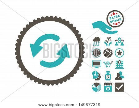 Refresh CCW pictograph with bonus pictures. Vector illustration style is flat iconic bicolor symbols, grey and cyan colors, white background.