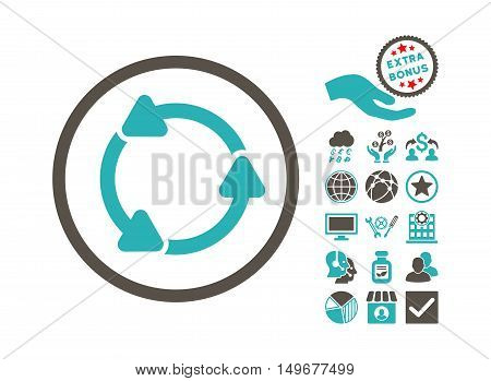 Rotate CCW pictograph with bonus pictogram. Vector illustration style is flat iconic bicolor symbols grey and cyan colors white background.