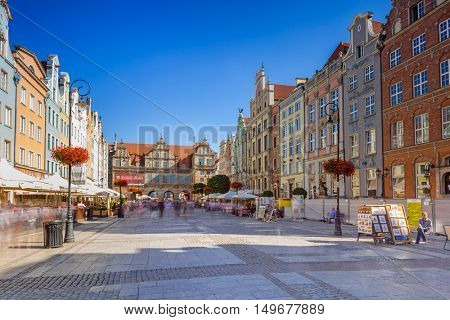 GDANSK, POLAND - SEPTEMBER 8, 2016: The Long Lane street in old town of Gdansk, Poland. Baroque architecture of the Long Lane is one of the most notable tourist attractions of the city.