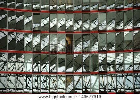 BERLIN, GERMANY - JUNE 21 2016: The modern dome at the Sony Center Potsdam Square with swiveling mirror windows on June 21, 2016 in Berlin.