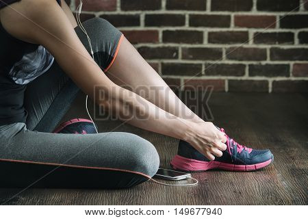 Sit Down Tie Sneakers Shoestring Listening To Music, Fitness Exercise