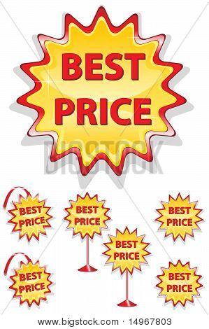 Set Of Red And Yellow Sale Icons Isolated On White - Best Price
