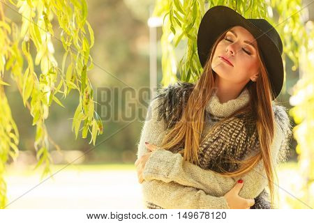 Attractive Girl Warm Herself