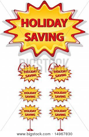Set Of Red And Yellow Sale Icons Isolated On White - Holiday Saving.eps
