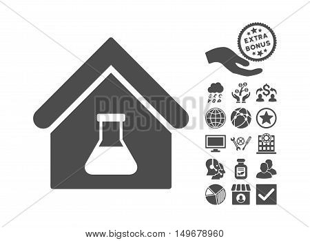 Chemical Labs Building pictograph with bonus clip art. Vector illustration style is flat iconic symbols gray color white background.