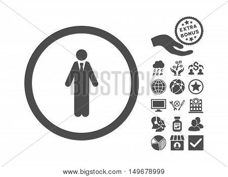 Clerk icon with bonus clip art. Vector illustration style is flat iconic symbols gray color white background.