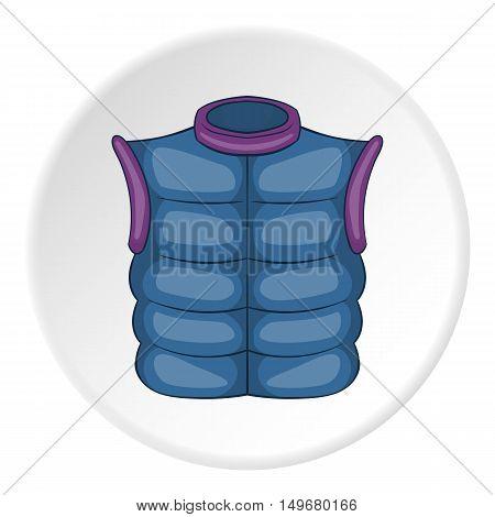 Mens vest sleeveless icon in cartoon style on white circle background. Clothing symbol vector illustration