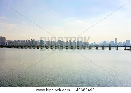 View of Seoul's han river with buildings