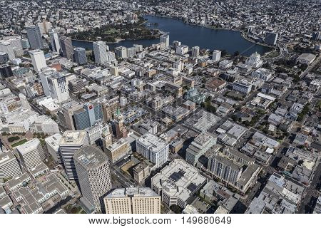Oakland, California, USA - September 19, 2016:  Aerial view of downtown architecture in Oakland, California.