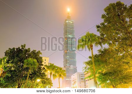 TAIPEI TAIWAN - AUGUST 16: This is a night view of Taipei 101 a famous landmark in Xinyi financial district and the tallest building in Taiwan on August 16th 2014 in Taiwan