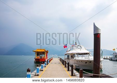 NANTOU TAIWAN - SEPTEMBER 04: This is a view of the famous Sun Moon Lake in Nantou county. Sun Moon Lake national scenic area is popular with tourists who visit Taiwan on September 04 2014 in Nantou