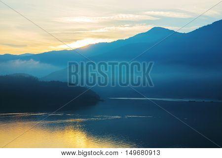 View of sun moon lake at sunrise