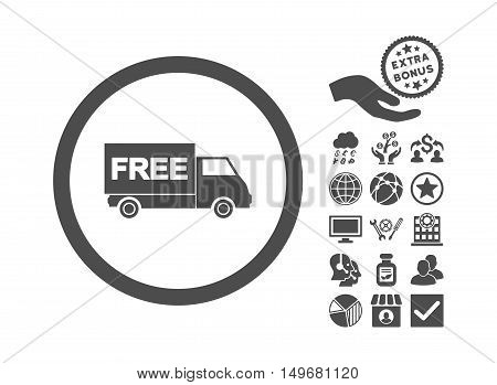 Free Shipment icon with bonus images. Vector illustration style is flat iconic symbols gray color white background.