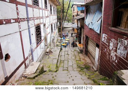 CHONGQING CHINA - DECEMBER 30: An old side street in Ciqikou old town which is a popular travel destination in Chongqing for traditional architecture on December 30th 2014 in Chongqing