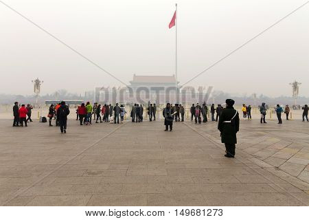 BEIJING CHINA - JANUARY 15: This is Tiananmen square one of Beijing's most famous historic tourist attractions on a cold winters day on January 15th 2015 in Beijing