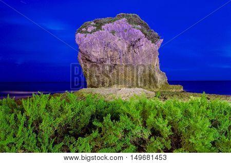Night view of Chuanfan rock in Kenting Taiwan