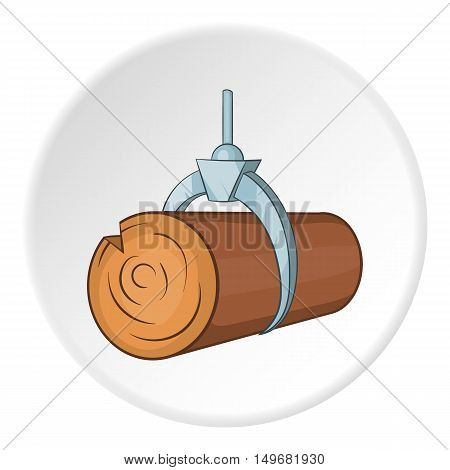 Hydraulic crane with log icon in cartoon style on white circle background. Felling symbol vector illustration