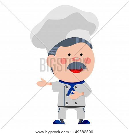 Funny chef. Vector illustration of a smiling chef