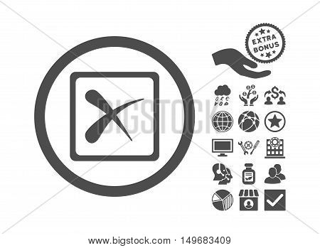 Reject icon with bonus pictures. Vector illustration style is flat iconic symbols gray color white background.